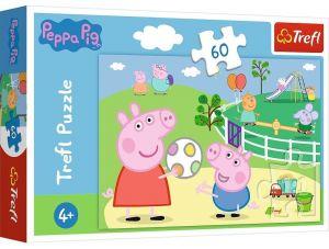 Puzzle  Trefl  60 dílků  - Prasátko Peppa - hraní s kamarády  17356