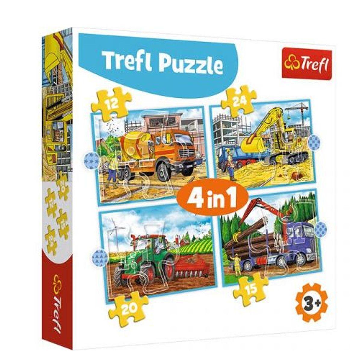 Trefl Puzzle 34353 - Velká pracovní auta 4v1 35 48 54 70 dílků