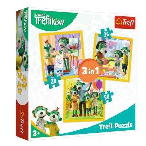 Trefl Puzzle 3v1-  20 36 50 dílků - Rodina Treflíků 34850