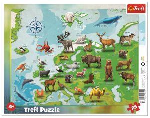 Trefl puzzle rámkové 25 dílků - Zvířecí mapa Evropy 31341
