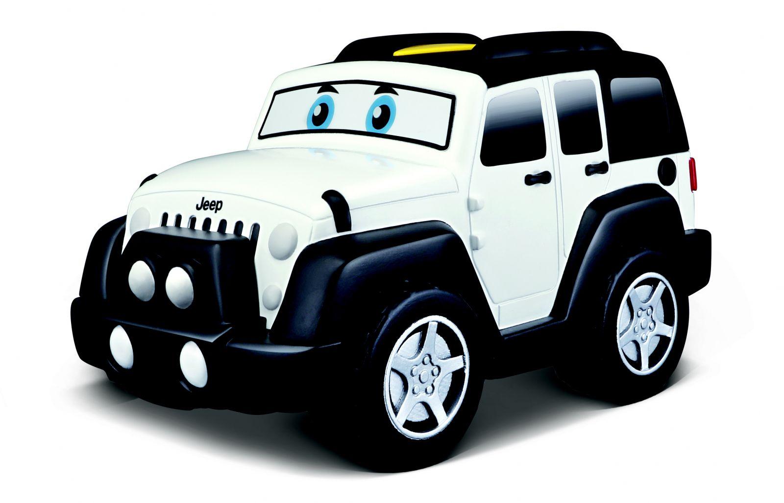 Bburago - jezdící autíčko Jeep Wrangler se zvukem 13 cm - bílé