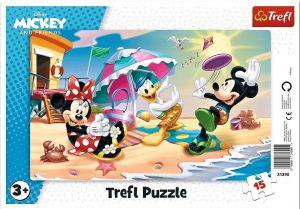Deskové puzzle Trefl 15 dílků - 31390 Mickey na pláži