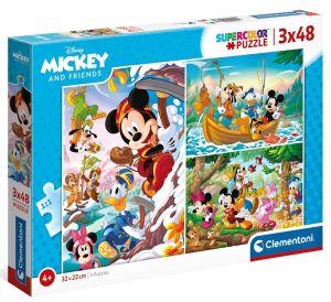 Dětské puzzle Clementoni  - 3 x 48 dílků  - Mickey a kamarádi  25266