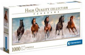Puzzle Clementoni 1000 dílků  panorama - běžící koně 39607