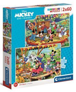 Puzzle Clementoni 2 x 60  dílků  -  Mickey Mouse a kamarádi  21620