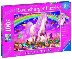 puzzle Ravensburger 100 dílků glitter -  Jednorožec 139279