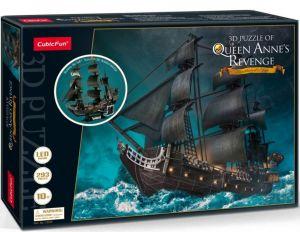3 D PuzzlePuzzle  CubicFun  - LED -  Pirátská loď pomsta královny Anny  293  dílků   20522
