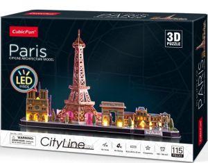 3D puzzle CubicFun CityLine  - LED - Paříž 115 dílků