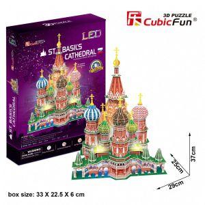 3D puzzle CubicFun - LED - Chrám Vasila Blaženého Moskva 224 dílků Cubic Fun