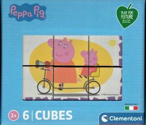 Clementoni - Obrázkové kostky ( kubus )  Play For Future  6 kostek -  Prasátko Peppa