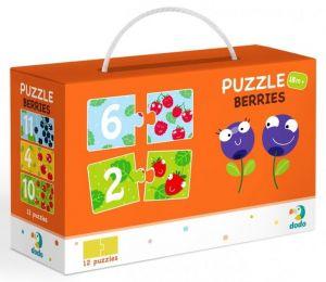 DoDo puzzle - 12 x 2 dílky -  Číslice a ovoce