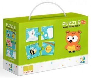 DoDo puzzle - 12 x 2 dílky -  Zvířátka a jejich obydlí