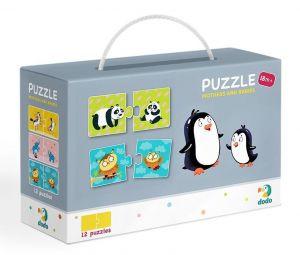 DoDo puzzle - 12 x 2 dílky -  Zvířecí maminky a mláďata