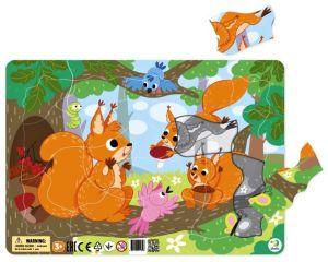 DoDo puzzle - rámkové 21 dílků -  Veverky