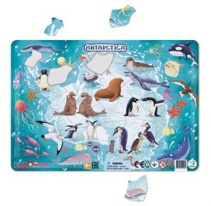 DoDo puzzle - rámkové 53 dílků -  Antarktída  se zvířátky