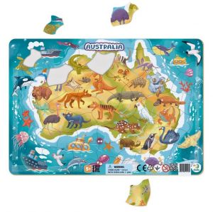 DoDo puzzle - rámkové 53 dílků -  Austrálie  se zvířátky