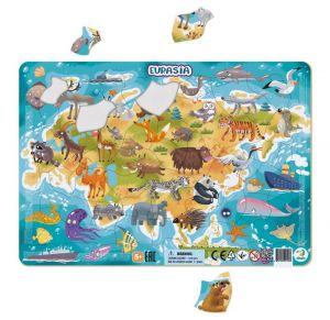DoDo puzzle - rámkové 53 dílků -  Euroasie   se zvířátky