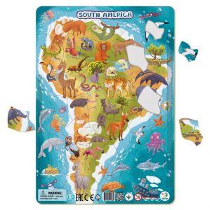 DoDo puzzle - rámkové 53 dílků - Jižní Amerika  se zvířátky