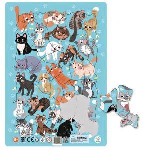 DoDo puzzle - rámkové 53 dílků -  Kočky