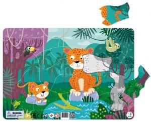 DoDo puzzle - rámkové 53 dílků -  Leopardi v džungli