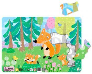 DoDo puzzle - rámkové 53 dílků -  Lišky v lese