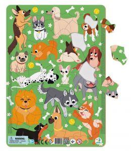 DoDo puzzle - rámkové 53 dílků -  Pejsci