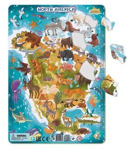 DoDo puzzle - rámkové 53 dílků - Severní Amerika   se zvířátky