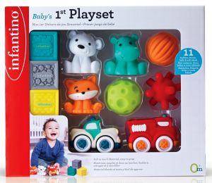 Infantino -  dárková  sada měkkých kostek a hraček 11 ks