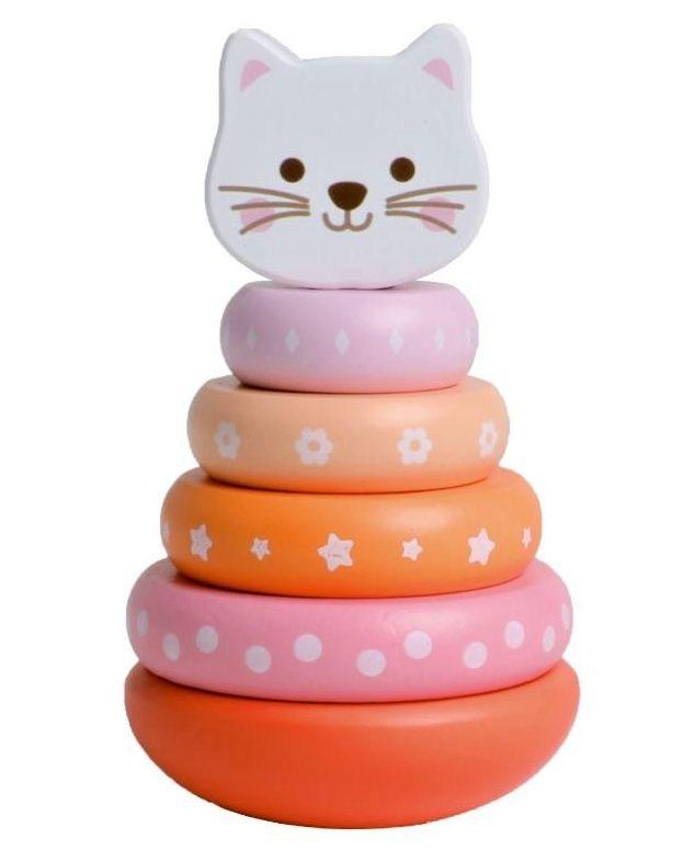 iWood - dřevěné kroužky na kuželu - duhová kočička