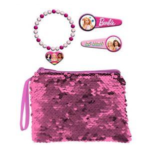 Kosmetická taštička s flitry , sponky do vlasů a náramek s přívěškem - Barbie