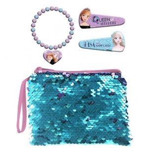 Kosmetická taštička s flitry , sponky do vlasů a náramek s přívěškem -  Frozen II
