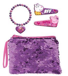 Kosmetická taštička s flitry , sponky do vlasů a náramek s přívěškem - Prasátko Peppa