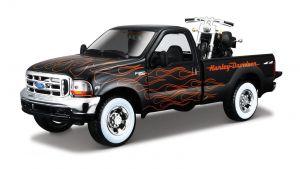 Maisto 1:24 HD - Ford  F-350  Super Duty PickUp   1999  + 2002  FXSTB Might Train  -  černá barva