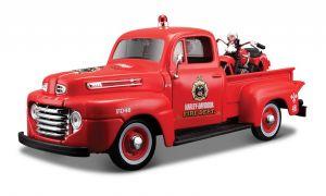 Maisto 1:24 HD - Ford F1 PickUp 1948 + EL Knuckelhead 1936 - červená barva