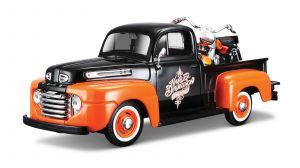 Maisto 1:24 HD - Ford F1 PickUp 1948 + FLH Duo Glide 1958 - oranžovo černá kombinace barev