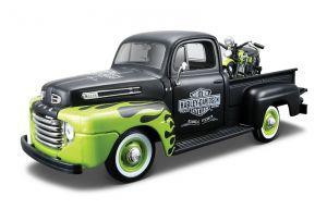 Maisto 1:24 HD - Ford F1PickUp 1948 + FL Panhead 1948 - zeleno černá  kombinace barev