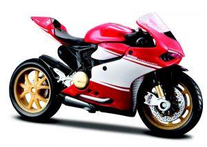 Maisto motorka bez podstavce - Ducati 1199 Superleggera 1:18 červeno bílá Miasto