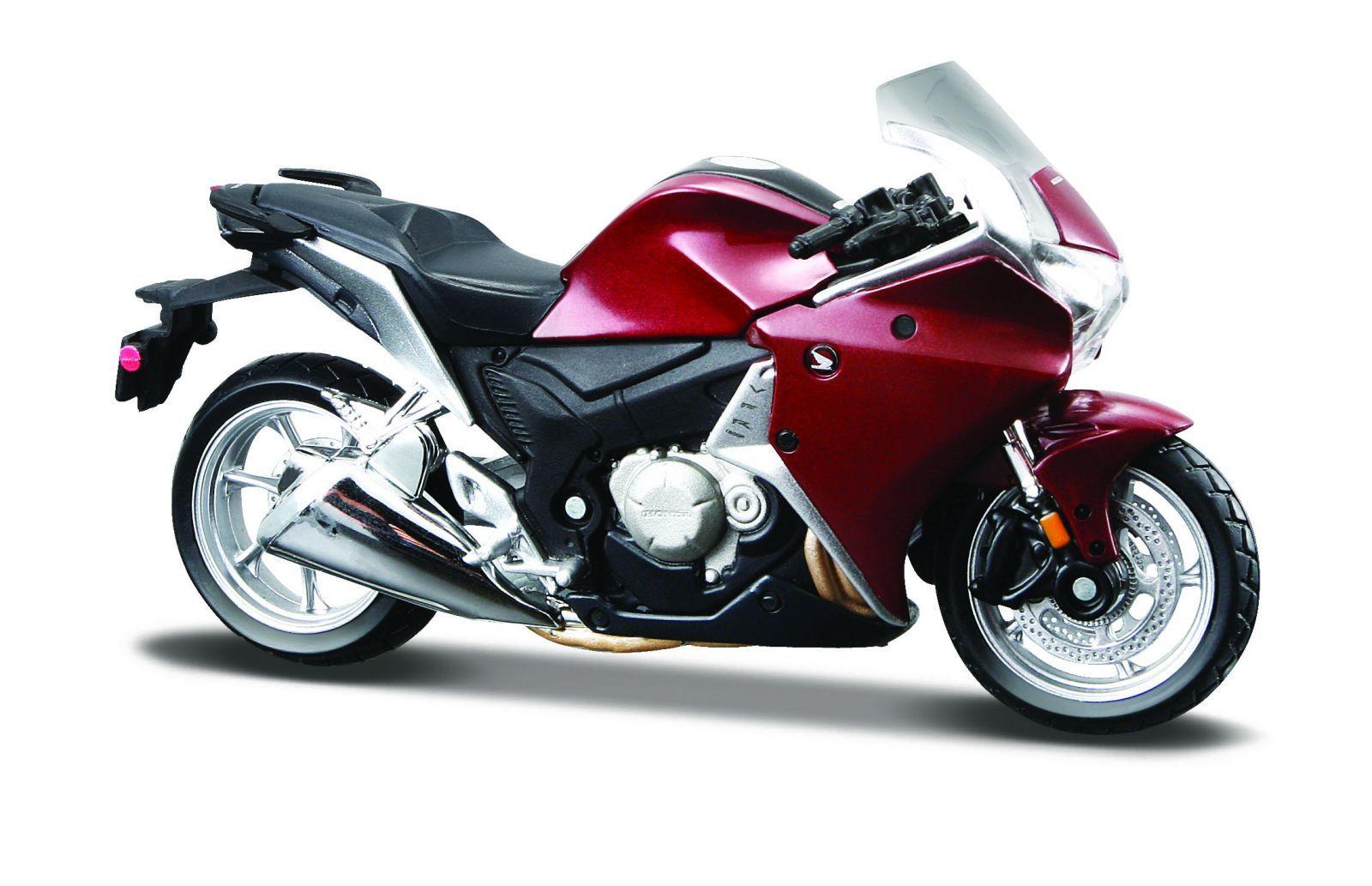 Maisto motorka bez podstavce - Honda VRF1200F 1:18 vínová Miasto