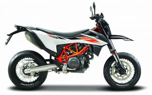 Maisto  motorka bez podstavce  -  KTM 690 SMC R 1:18 bílo oranžová