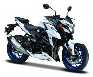 Maisto  motorka bez podstavce  -  Suzuki GSX S750 ABS   1:18  bílá