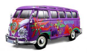 auto Maisto  1:25  Hippie -  Volkswagen Van Samba - fialová barva
