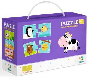DoDo puzzle - 12 x 2 dílky -  Co jedí zvířata
