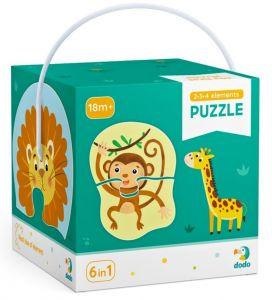 DoDo puzzle 6 v 1 - 2, 3 a 4 dílky  - Divoká zvířata