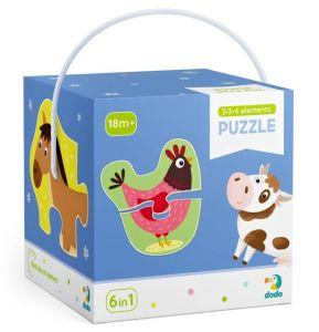 DoDo puzzle 6 v 1 - 2, 3 a 4 dílky  - Domácí zvířátka