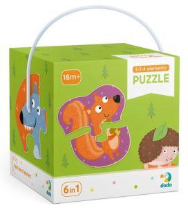 DoDo puzzle 6 v 1 - 2, 3 a 4 dílky  - Lesní zvířata