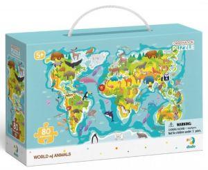 Dodo puzzle 80 dílků s hledáním obrázků -  Mapa světa se zvířátky