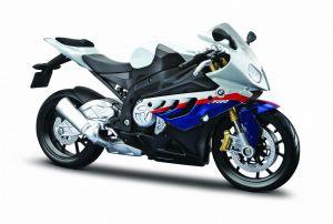 Maisto motorka 1:12 na  podstavci -  BMW S  1000 RR  - bílo modrá
