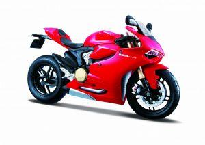 Maisto motorka 1:12 na  podstavci -  Ducati  1199 Panigale - červená