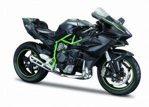 Maisto motorka 1:12 na  podstavci -  Kawasaki Ninja  H2 R  černo zelená