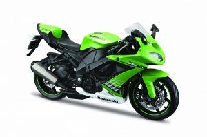 Maisto motorka 1:12 na  podstavci -  Kawasaki Ninja ZX-10R zelená